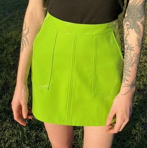 NWOT Dollskill Neon Green Mini Skirt Vinyl